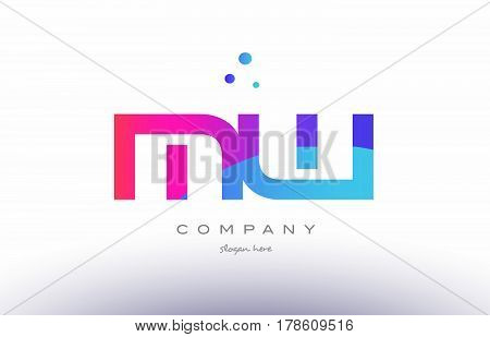 Mw M W  Creative Pink Blue Modern Alphabet Letter Logo Icon Template
