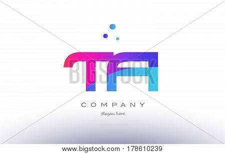 Ta T A  Creative Pink Blue Modern Alphabet Letter Logo Icon Template