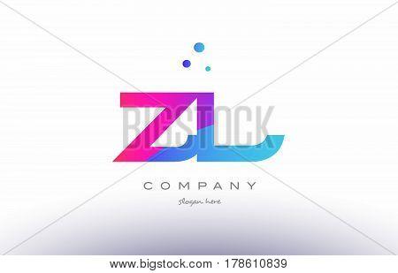 Zl Z L  Creative Pink Blue Modern Alphabet Letter Logo Icon Template