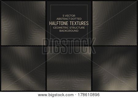 Set of 5 Vector Abstract Dotted Halftone Textures. Pale Radial Geometric Structure Background