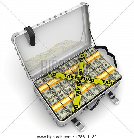 Tax refund. Suitcase full of money. A suitcase filled with packs of American dollars and yellow tapes with text