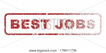 Best Jobs text rubber seal stamp for watermarks. Textured emblem. Vector red caption inside rounded rectangular banner. Grunge design and dirty texture.