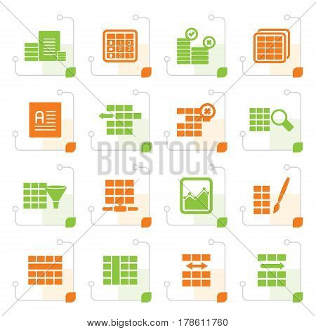 Stylized Database and Table Formatting Icons - Vector Icon Set