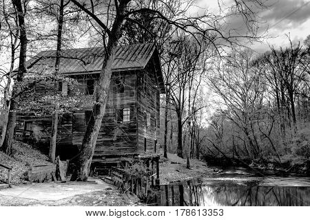 Childersburg Alabama USA - March 25 2017: Kymulga Grist Mill on the banks of Talledega Creek is original to Civil War period and the grist mill is still working.
