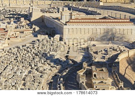 Model of ancient Jerusalem at the time of the second temple.  Focusing on the Temple Mount, Temple, The Royal Basilica, Huldah Gates, Robinson's Arch, Tomb of Prophetess Huldah, Upper City Homes, Adiabenian Royal Palaces, Wilson's Arch, and Western Wall.