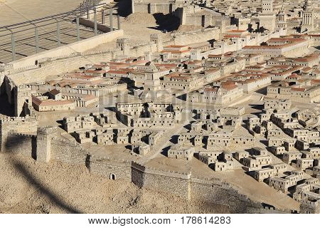 Model of ancient Jerusalem at the time of the second temple.  Including the Dyers Quarter, Tomb of David, Palace of High Priest Caiaphas, Herod's Palace and Upper Agora, Barracks,