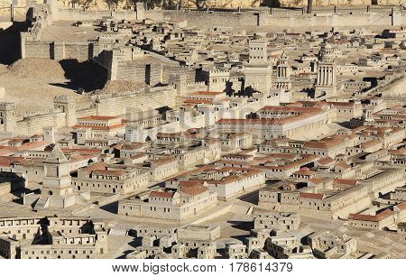 Model of ancient Jerusalem at the time of the second temple.  Including the Herod's Palace, Upper Agora, Tomb of David, Palace of High Priest Caiaphas, Phasael Tower, Hippicus Tower, Mariamne Tower and Barracks.