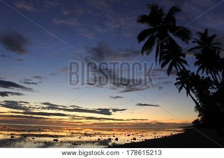 Sunset Landscape View Of The Coral Coast Fiji