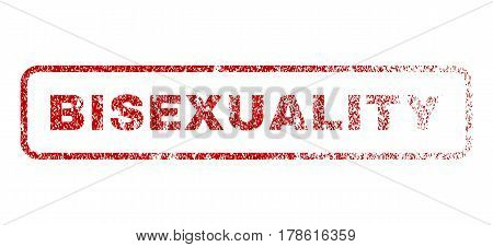Bisexuality text rubber seal stamp for watermarks. Textured sign. Vector red tag inside rounded rectangular banner. Grunge design and dirty texture.