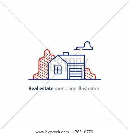 Small detached house with garage, suburb summer house icon, real estate vector mono line illustration