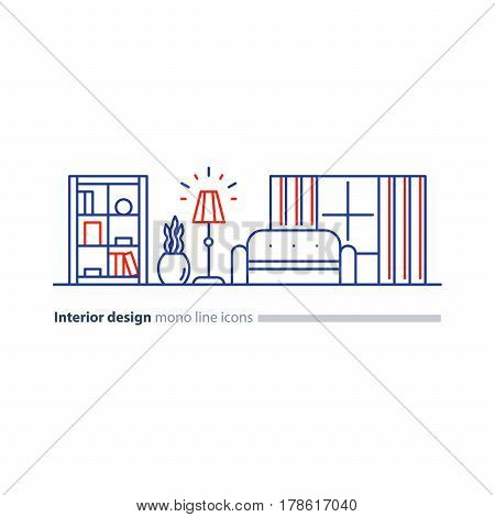 Interior design, minimalism living room, set of furniture, tidy apartment, vector mono line icon collection