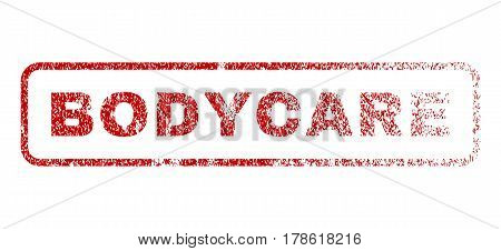 Bodycare text rubber seal stamp for watermarks. Textured sticker. Vector red tag inside rounded rectangular banner. Grunge design and dirty texture.