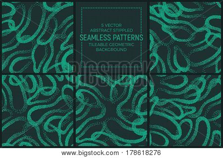 Set of 5 Vector Abstract Green and Turquoise Stippled Seamless Patterns. Handmade Tileable Geometric Dotted Grunge Background