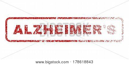 Alzheimer'S text rubber seal stamp for watermarks. Textured sticker. Vector red tag inside rounded rectangular banner. Grunge design and scratched texture.
