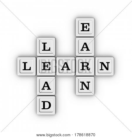 Learn,Lead, Earn Crossword Puzzle. 3D illustration on white background.