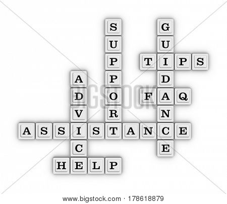 Assistance, Advice, Support, Guidance, Faq, Tips, Help Crossword Puzzle. 3D illustration on white background.