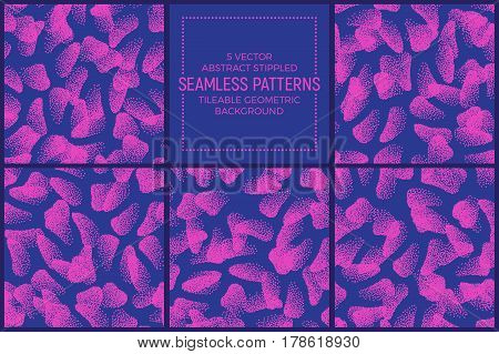 Set of 5 Vector Abstract Pink and Blue Stippled Seamless Patterns. Handmade Tileable Geometric Dotted Grunge Background