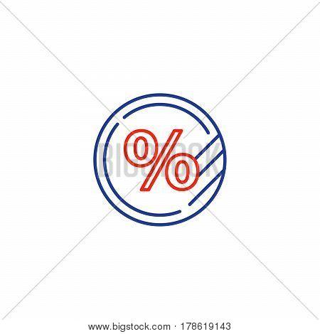 Sale percentage sign, discount offer symbol, token vector mono line icon