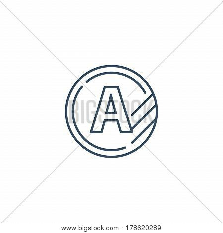Token with letter A, upgrade concept, round classification mono line vector icon