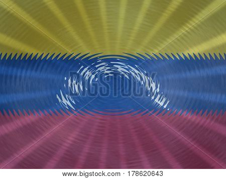 Venezuelan flag background with ripples and rays illustration