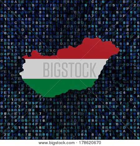 Hungary map flag on hex code 3d illustration