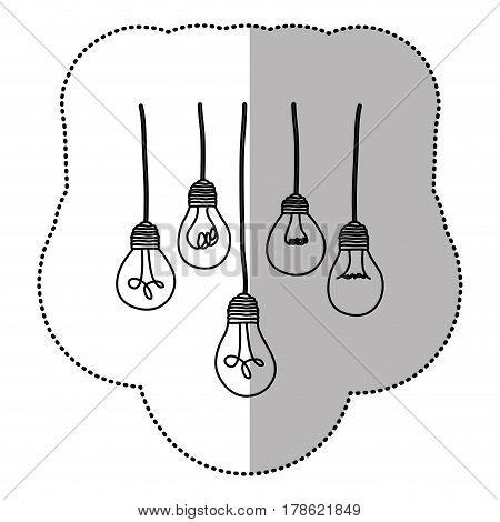 light bulbs hanging icon, vector illustration design