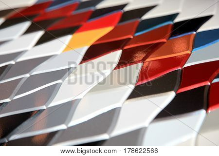 Automotive external paint color samples