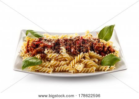 Pasta with meat and tomato sauce