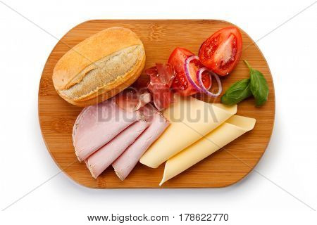 Breakfast - bread, ham and cheese