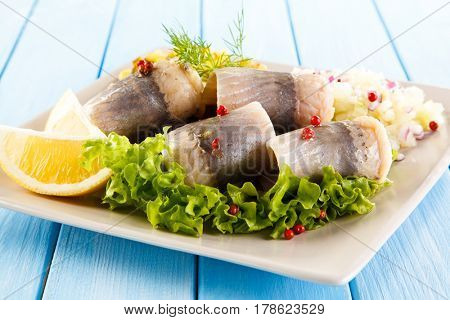 Marinated herring fillets