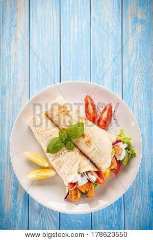 Tortilla wrap with meat and vegetables