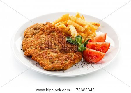Fried pork chop with french fries