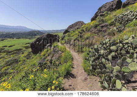 Green hillside trail in Wildwood Regional Park in the Thousand Oaks community of Ventura County, California.
