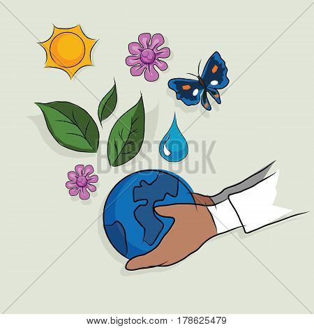 hand holding globe ecology mother earth concept of ecology beautiful life ecosystem drawing sketch in color vector