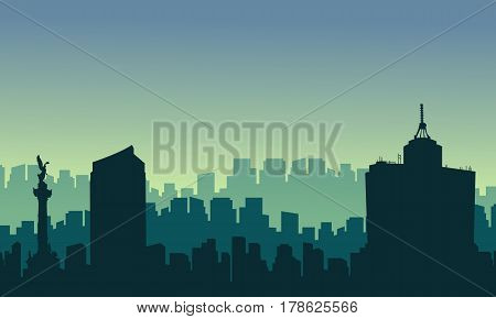 Scenery Mexico city skyline silhouettes vector illustration