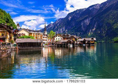 Hallstat - beautiful Alpine paradise village in the lakeside, Austria