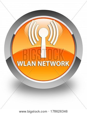 Wlan Network Glossy Orange Round Button