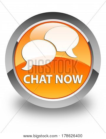 Chat Now Glossy Orange Round Button