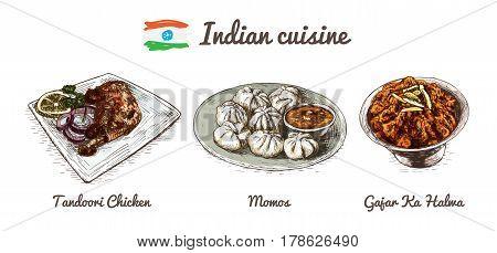 Indian menu colorful illustration. Vector illustration of Indian cuisine.