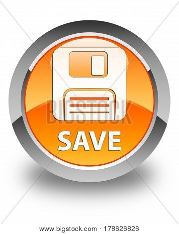 Save (floppy Disk Icon) Glossy Orange Round Button