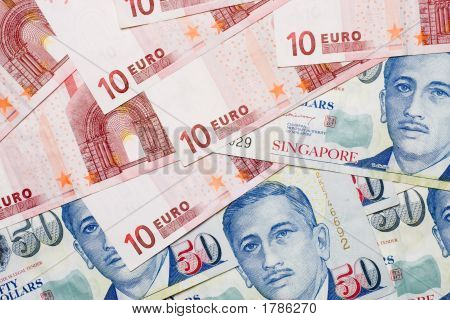 Euro And Singapore Currencies