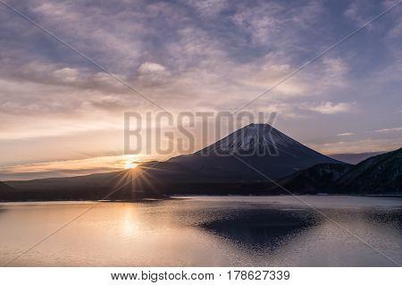 Lake Motosu and Mount Fuji at early morning in winter season. Lake Motosu is the westernmost of the Fuji Five Lakes and located in southern Yamanashi Prefecture near Mount Fuji Japan