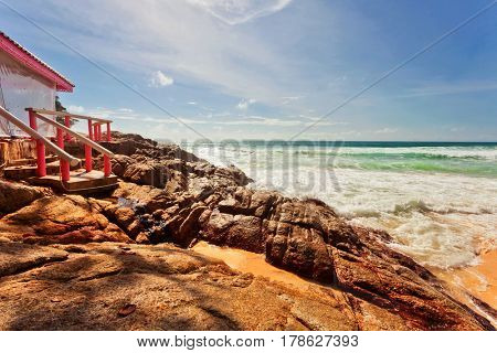 Beautiful tropical beach with rocks. Nature background
