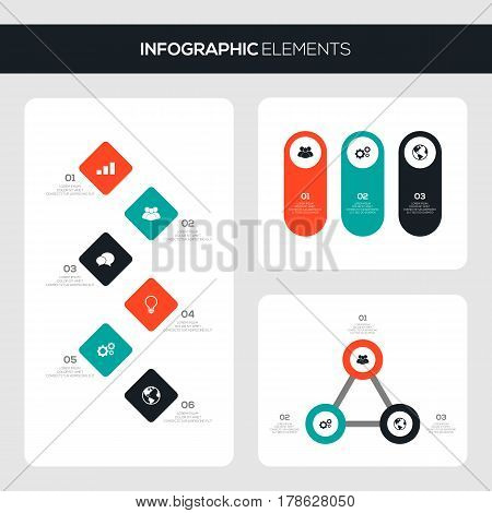 Set of business infographic template design elements can be used for brochure workflow layout vector illustration
