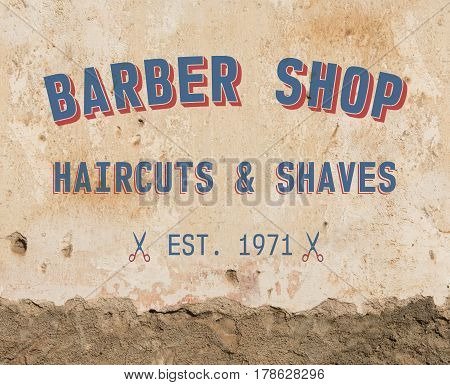 Barber sign on grunge wall in vintage town