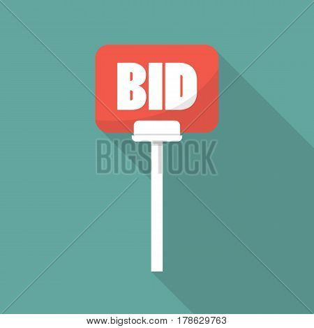 Auction paddle in flat style. Vector illustration with long shadow