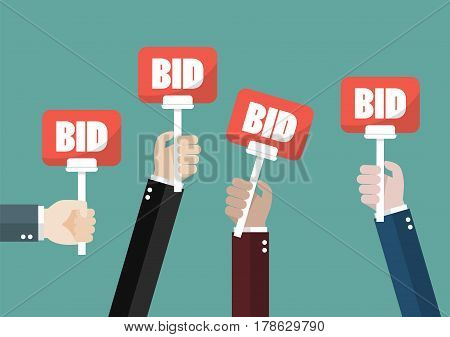 Hand holding auction paddle. Vector illustration cartoon