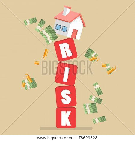 Real estate on shaky risk blocks. Investment risk concept