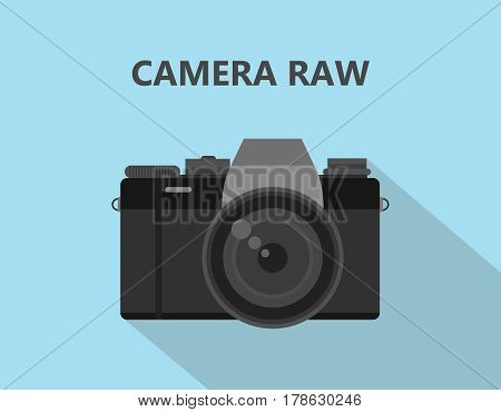 Camera RAW format file illustration with camera icon with shadow and blue background vector