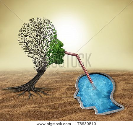Psychology treatment and mental health assistance as a sick tree shaped as a human head drinking water from a pool in the shape of a face as a psychologist or psychiatrist metaphor for helping a patient with 3D illustration elements.